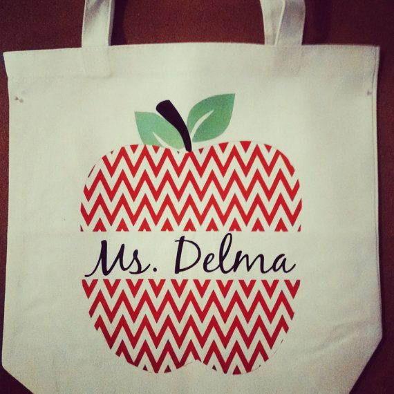 Custom Apple Chevron Split Letter Tote Bag for by SEPBoutique, $18.00 #SouthernEventPlanning Www.southerneventplanning.com