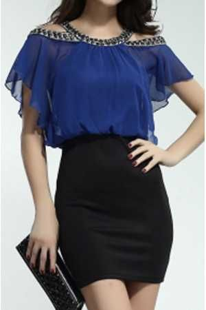 Vestido corto Chic de fiesta talle alto y gasa - Corsets online lenceria vestidos