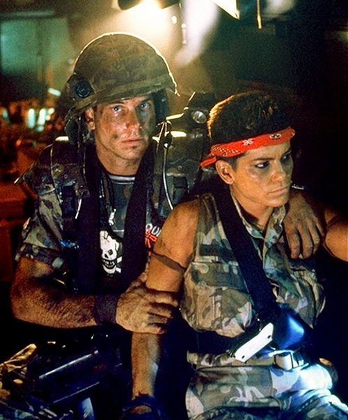 """Vasquez and a nervous Hudson. - """"In case you haven't been keeping up with current events, we just got our asses kicked!"""" - Aliens, 1986."""