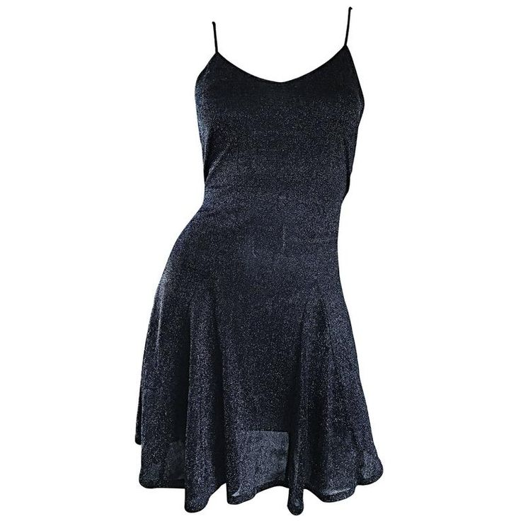 1990s Betsey Johnson Black Metallic Lurex Vintage 90s Mini Skater Dress Petite | From a collection of rare vintage evening dresses and gowns at https://www.1stdibs.com/fashion/clothing/evening-dresses/
