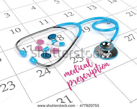 3d rendering of blue stethoscope, calendar and reminding note
