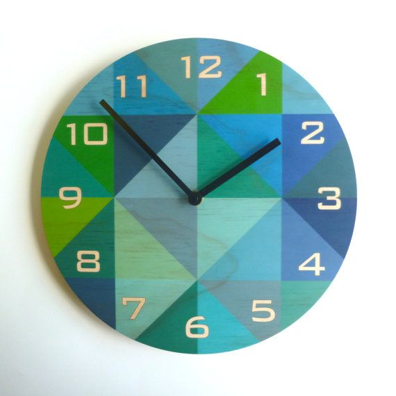 Objectify Grid Blue-Green Plywood Wall Clock With Numerals - Medium Size