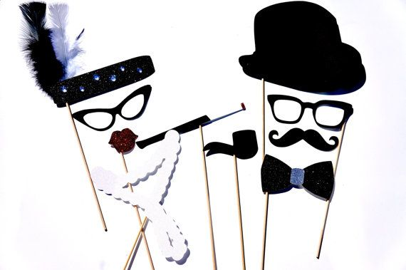 Roaring Twenties Photo Booth Props - 10 piece set - Birthdays, Weddings, Parties - GLITTER Photobooth Props on Etsy, $38.00