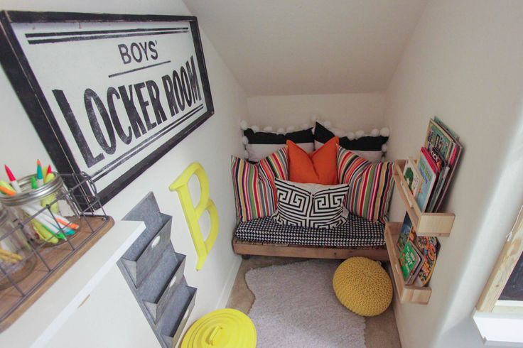 Playroom and Reading Nook - see how this closet was turned into the ultimate kid zone with a reading nook and fun play area!