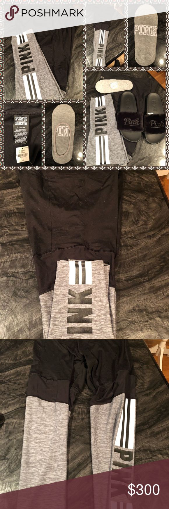 BNWT PINK VS BUNDLE BNWT PINK VS BUNDLE set includes 1- pair Large ULTIMATE MESH LEGGINGS w/ 1 side pocket black top w/gray below the knee black/ white stripes PINK written in black on the leg  1- pair size L 9/10 black fur slides withe PINK embroidered across the top & 1 pair of gray no- show socks I DO Not Trade will price drop rude comments will be blocked offers discussed through offer option only PINK Victoria's Secret Pants Leggings