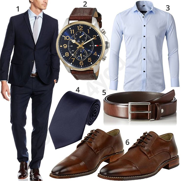 High-quality business style with s.Oliver black label suit, Fossil wristwatch, light blue inflation shirt, dark blue tie, dark brown MLT leather belt and Gordon & Bros lace-up shoes.  1. Suit ▶ amzn.to/2CoD5FE 2 o'clock ▶ amzn.to/2ocSpAv (-29%)  3. Shirt ▶ amzn.to/2C0Ey9M (-66%)  4. Tie ▶ amzn.to/2C21MfB 5. Belt ▶ amzn.to/2CnNG3M 6. Shoes ▶ amzn.to/2GgM5z8