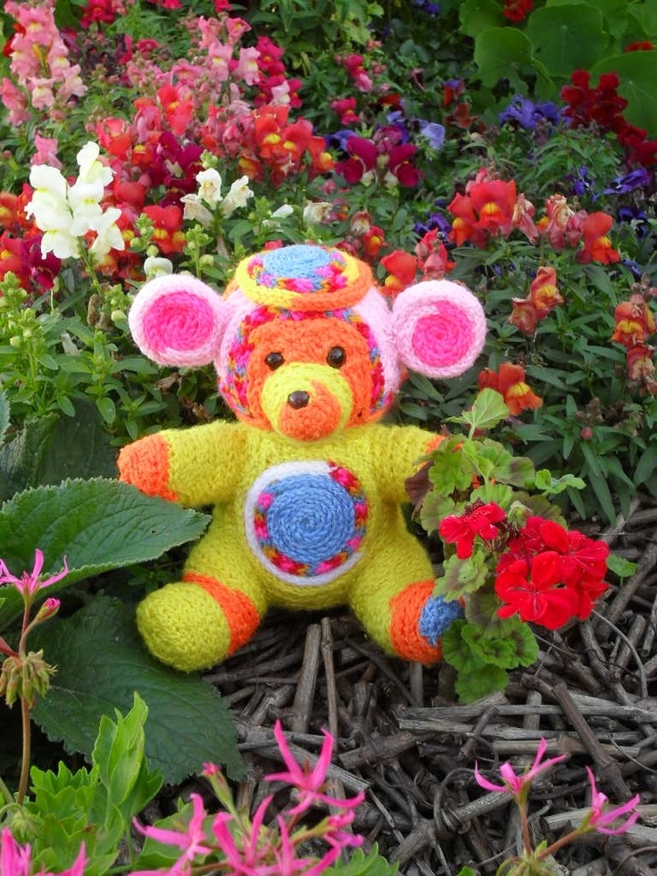 Teddy bear in garden.