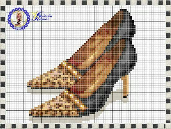 Leopard shoe x-stitch