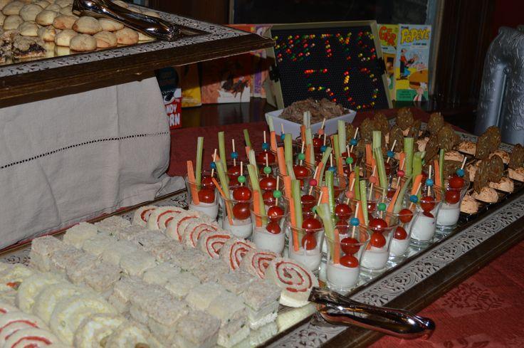 50th Birthday Party Retro 60s Theme Food Modernized Catering Events Repurpose Old Mirror Mini Ambrosia Salad Cheese Balls Fun