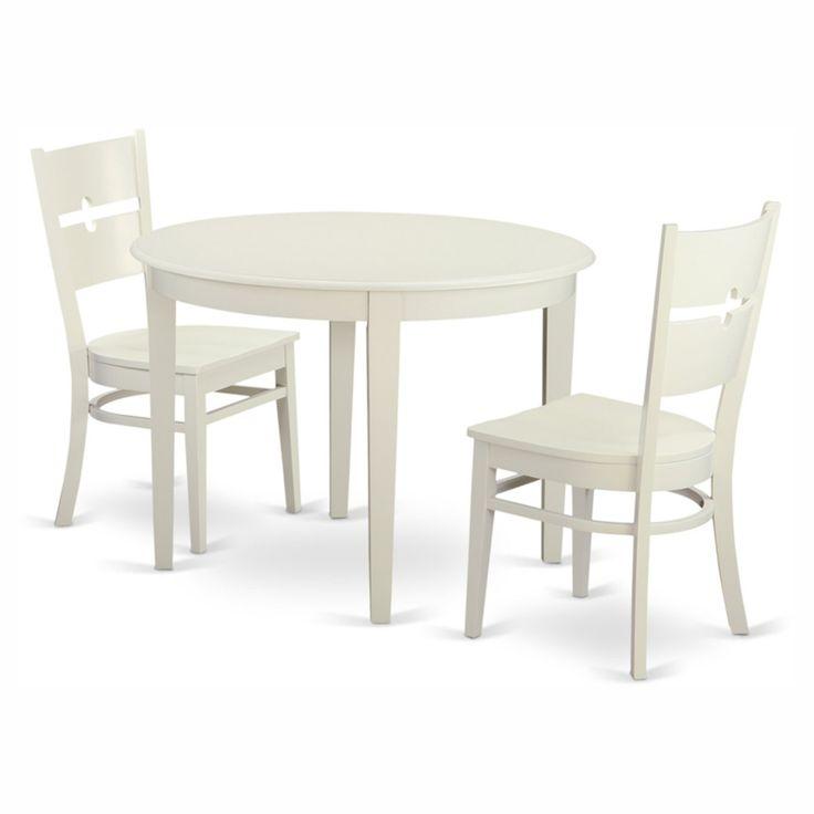 East West Furniture Boston 3 Piece Round Dining Table Set with Rockville Wooden Seat Chairs - BORO3-WHI-W