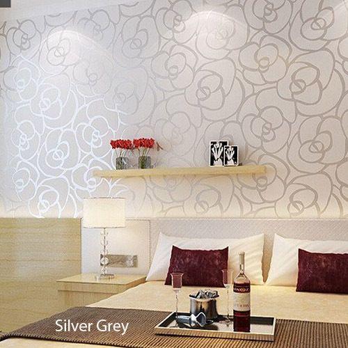 Barato rosa floral papel de parede pvc vinil em relevo - Papel de pared barato ...