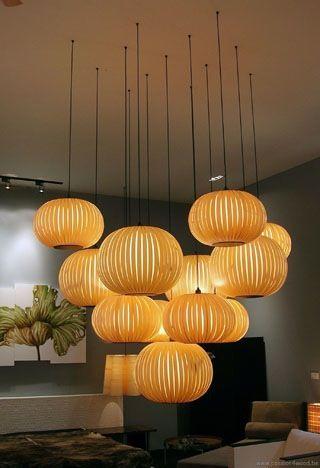 Houten hanglamp met fineer