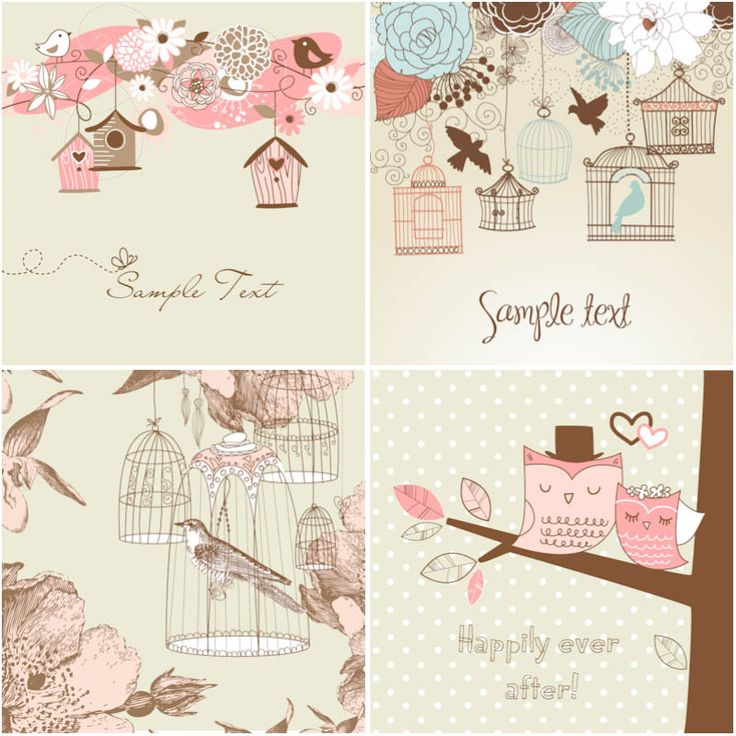 122 best wedding invitations cards backgrounds images on pinterest set of vector romantic cards with birds birdcage nesting box and place for your text in archive 4 files with beautiful vintage flowers cages for birds stopboris