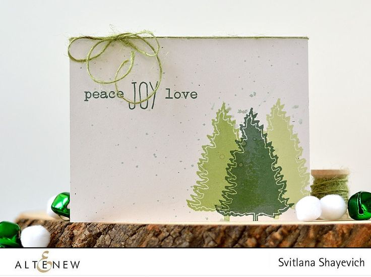 A beautiful monochromatic card- Three shades of green trees are stamped onto a card base with ink droplets and a piece of green twine is tied around the card folding. http://altenewblog.com/2016/10/30/three-quick-holiday-cards/