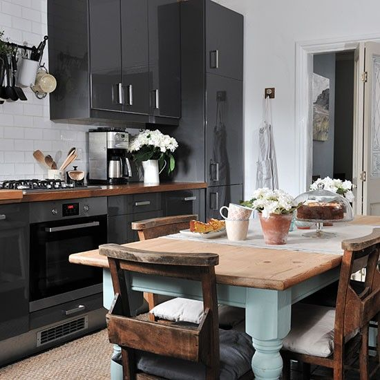 Grey gloss kitchen with rustic table | Kitchen decorating | Ideal Home | Housetohome.co.uk