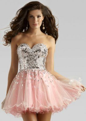 Short Pink Silver Glimmering Top Homecoming Dresses 2013 $153
