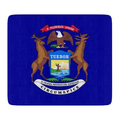 Small glass cutting board with Michigan flag - trendy gifts cool gift ideas customize