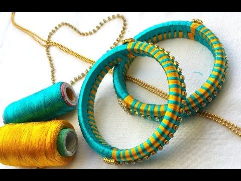 DIY: How to turn your old bangles into bridal chuda I Silk thread Bangles I Creative Diaries - YouTube