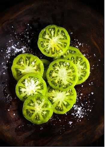 Food | Nourriture | 食べ物 | еда | Comida | Cibo | Art | Photography | Still Life | Colors | Textures | Design | green tomatoes ready to fry