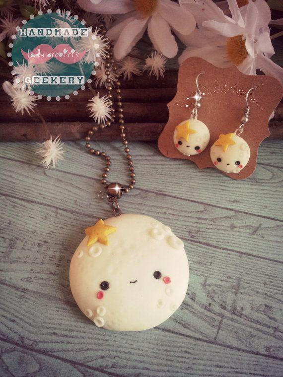 Collar-Espejo y pendientes de Luna Kawaii ( brilla en la oscuridad) / Kawaii Moon mirror-necklace and earrings (Glow in the Dark)