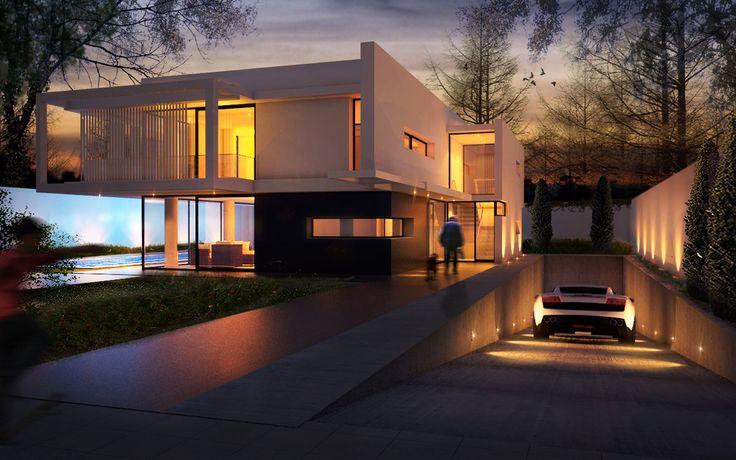 - Rampa de entrada do carro - Linhas e planos Contemporary Home | John Smith