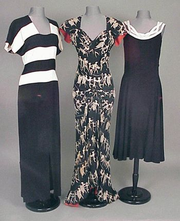 Group of Three Howard Greer Dresses 1940s, love the middle dress:)