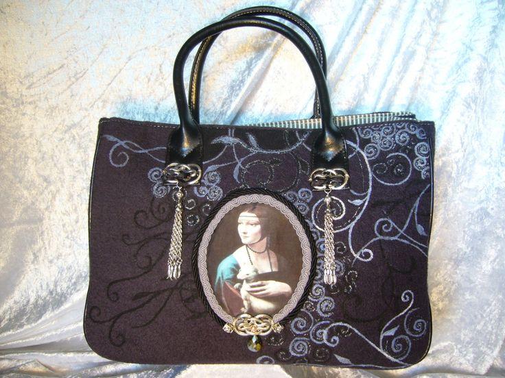sac à main peint à la main la dame à l'hermine : Sacs à main par iletaitunesoie