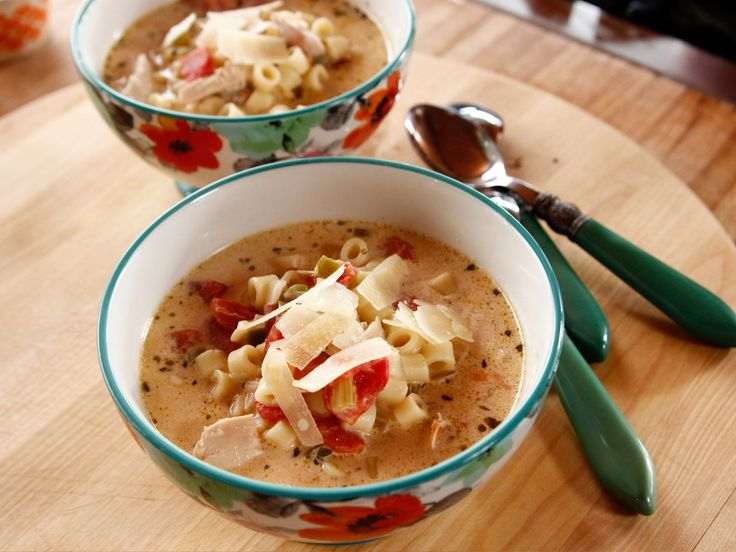 Italian Chicken Soup recipe from Ree Drummond via Food Network (switch out green peppers for red peppers)