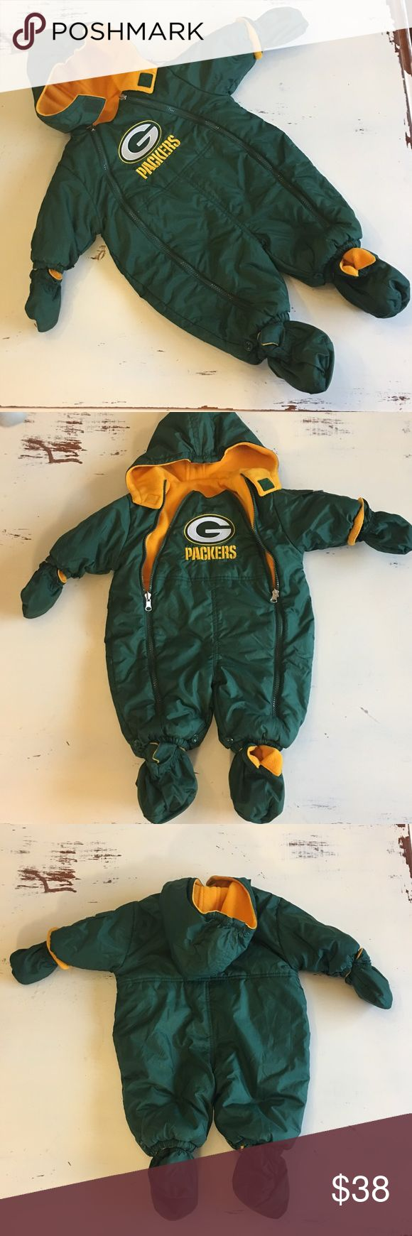 Green Bay Packers reversible fleece snowsuit NFL reversible  cozy fleece  snowsuit sporting the Green Bay Packers logo and green and gold reversible booties and mittens that can be detached. Like new great condition. nfl Jackets & Coats Puffers