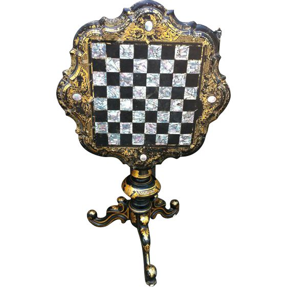 Early 19thc Venetian Gilded & Lacquered Chess Table Found on RubyLane.com
