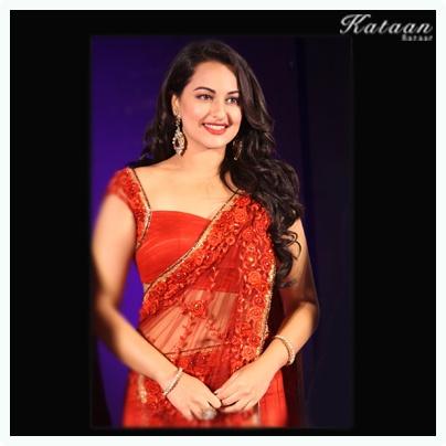 #Sonakshi Sinha in transparent RED saree