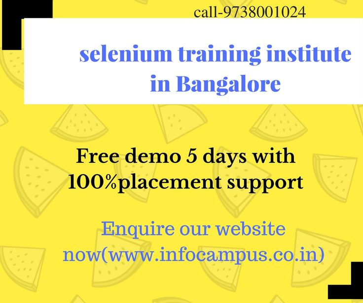 Call 9738001024 to get more details about selenium training institute in Bangalore fill our enquiry form to get more information about Selenium training in Bangalore (marathahalli). We are offering free of selenium demo classes 5 days with 100% placement assistance, low fees, and live project. Book you're free of demo now Infocampus is a best selenium training institute in marathahalli (Bangalore)