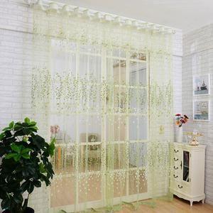 Floral Sheer Door Curtain Window Room Drape Panel Scarf Valance