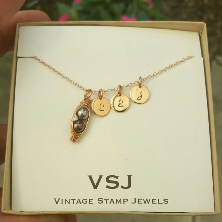 Gorgeous Rose Gold 2 Peas in a pod Necklace with initial discs