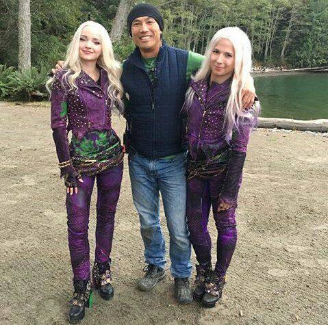 Dove Cameron As Mal With Her Stunt Double And A Fan On The