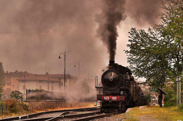 old train in the rain