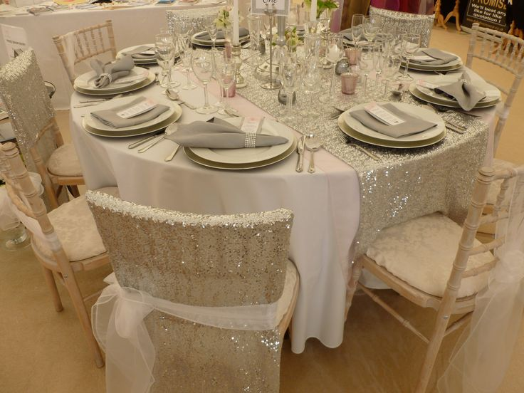 Sequin Chair Veils And Table Runner Designed Supplied By Simply Bows Covers