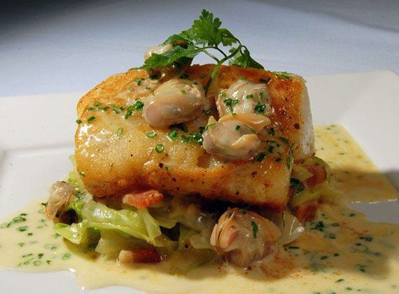 Roasted Nova Scotia Halibut with Cockles | @Omecaterer #njcatering #nycatering #caterersnj | Ome Caterers Catering NJ NY CT | Wedding Reception Ideas Decorations, Bat Mitzvahs, Charity Golf Outing, Fundraising, Corporate, Event Planner