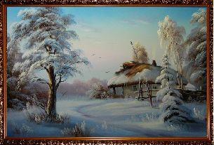 Домик в лесу - Зимний пейзаж <- Картины маслом <- Картины - Каталог | Универсальный интернет-магазин подарков и сувениров