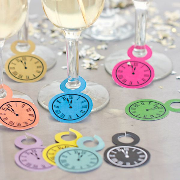 DIY Clock design Champagne Glass Tags - Free Printable Download