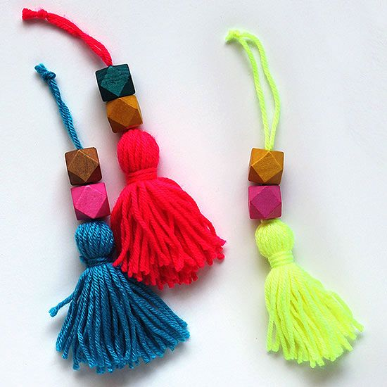 DIY Christmas Ornaments | Enliven your Christmas tree by replicating these bold beaded tassel ornaments from Sew DIY. Beth used these hot-hue crafts to perk up a plain white tree.