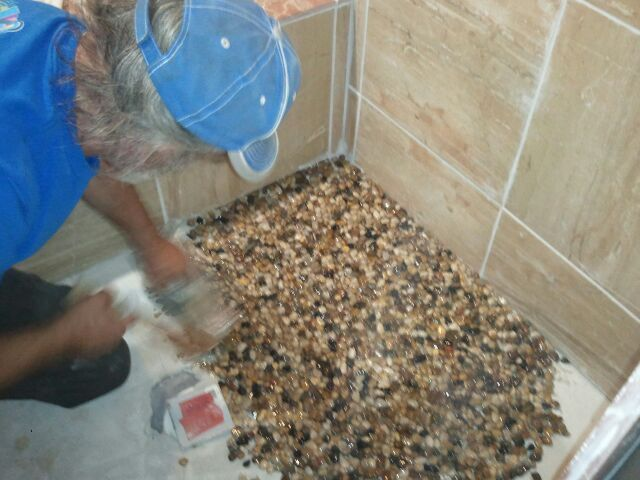 pebble floor in new shower