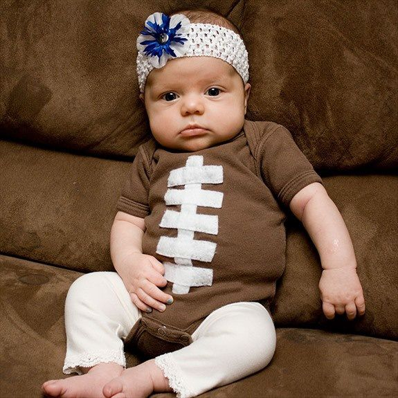 42 Craft Project Ideas That are Easy to Make and Sell | Football Onsie in time for the NFL Season.