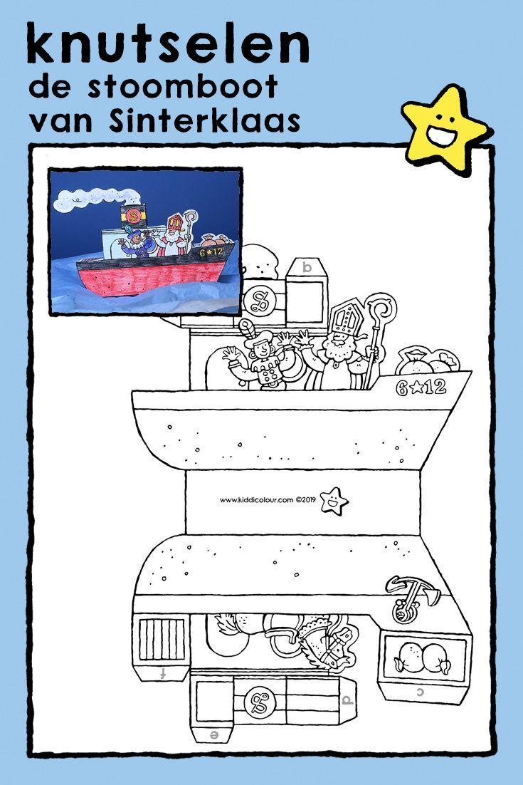 De Stoomboot Van Sinterklaas Knutselen Kiddikleurprenten Kiddikleurplaten Stoomboten Kleurplaten Knutselen Thema Feest