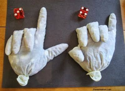 fill rubber gloves with beans or stones and use them as counting fingers for math class - addition/subtraction!
