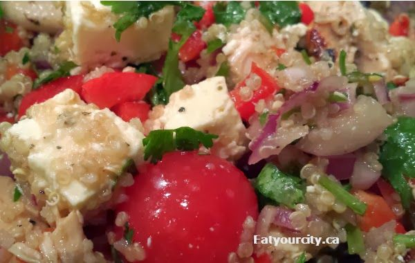 Mediterranean quinoa salad recipe with feta, olives and balsamic vinaigrette dressing.. its a healthy but super delicious Greek salad!! http://www.eatyourcity.ca/2014/03/mediterranean-quinoa-salad-recipe-with.html