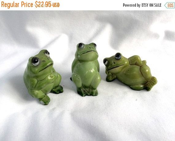 Vintage Green  FROGs Miniature Plastic Frogs stamped Hong Kong by StudioVintage on Etsy