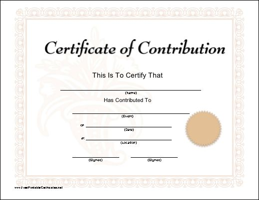 A printable certificate of contribution honoring a charitable donation and bordered in a pink floral pattern. Free to download and print
