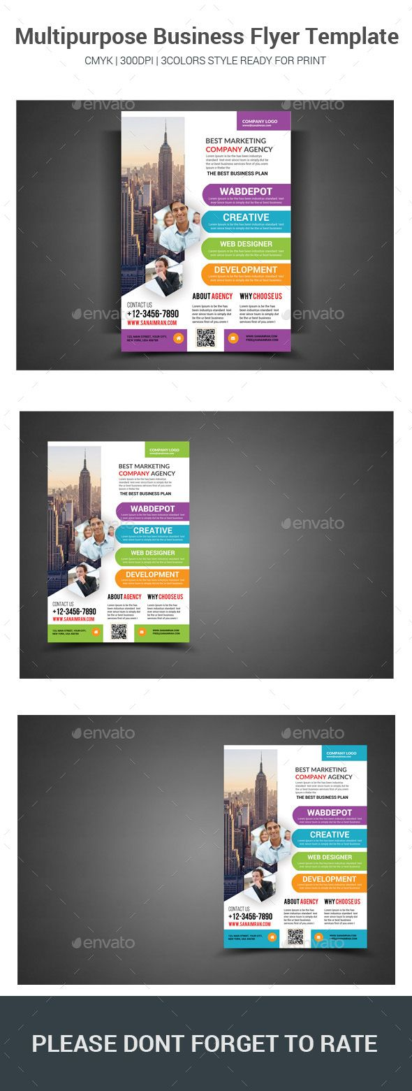 Multipurpose Business #Flyer #Template - #Corporate #Flyers Download here: https://graphicriver.net/item/multipurpose-business-flyer-template/19524981?ref=alena994