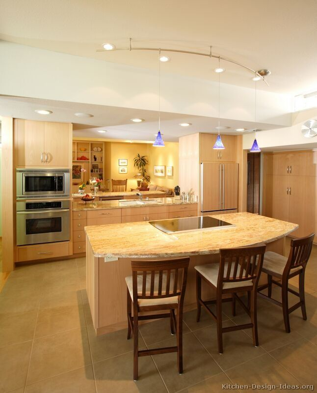 the beauty of natural wood can brighten any kitchen these pictures of modern light wood kitchen cabinets reveal dozens of contemporary design ideas - Kitchen Lighting Design Ideas Photos